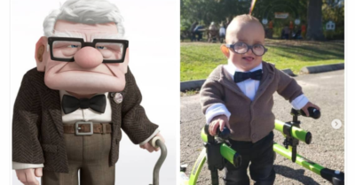 Photo of 2-year-old with cerebral palsy goes viral for 'Up'-themed Halloween costume