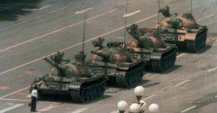 In this June 5, 1989 photo, a Chinese man blocks a line of tanks at Tiananmen Square, Berijing, China. (Photo AP/Jeff Widener, File)