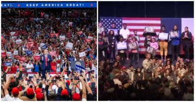 Trump's Dallas, Texas rally versus O'Rourke 's counter-rally in photos