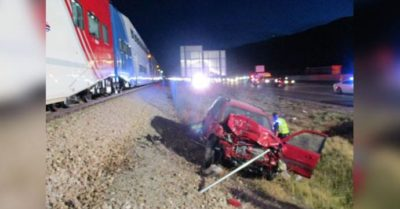 Utah trooper risk his life to save driver seconds before train smashes vehicle