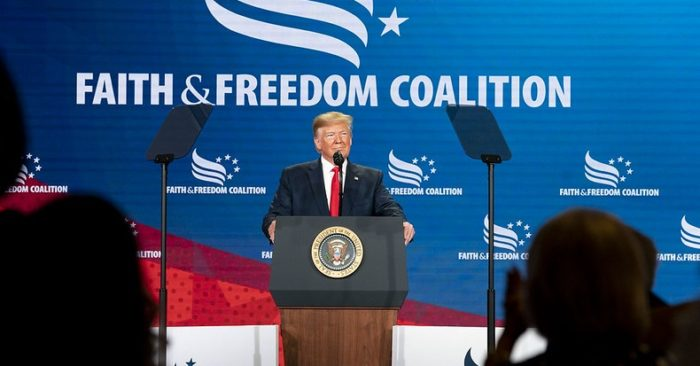 President Donald J. Trump addresses the Faith and Freedom Coalition Toward the Majority 2019 Conference on June 26, 2019, at the Washington Marriott Wardman Park Hotel in Washington, D.C. (Official photo of the White House by Joyce N. Boghosian).
