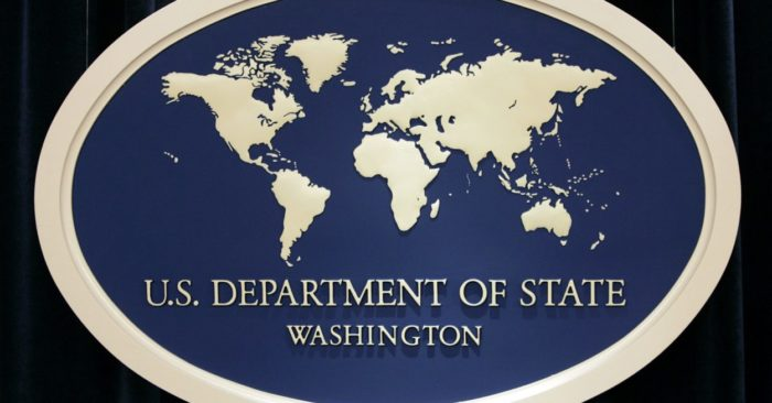Image of the sign used in press briefings at the U.S. State Department. (AP Photo/Charles Dharapak)