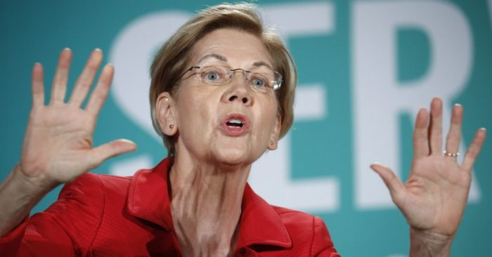Democratic presidential candidate Senator Elizabeth Warren, D-Mass, speaks at a candidates' forum on labor issues in Las Vegas on Aug. 3, 2019 (Photo AP/John Locher, File)