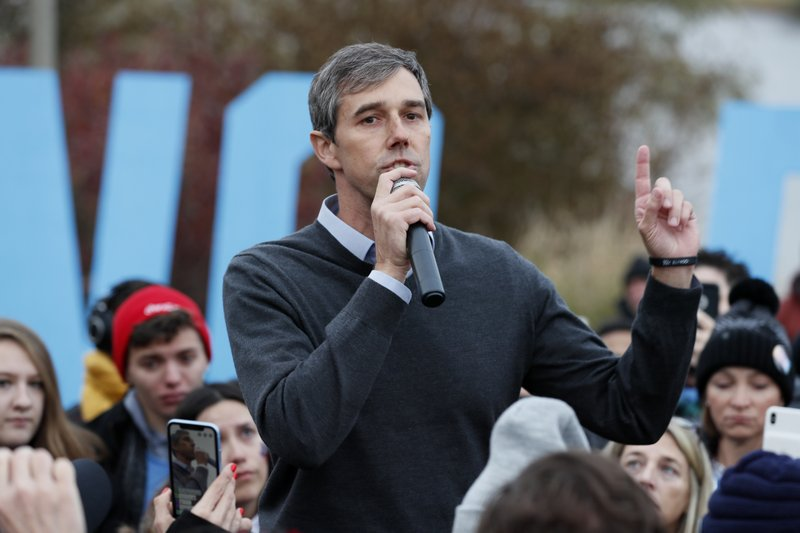 Democratic presidential candidate Beto O'Rourke speaks to supporters before the Iowa Democratic Party's Liberty and Justice Celebration, Friday, Nov. 1, 2019, in Des Moines, Iowa. O'Rourke told his supporters that he was ending his presidential campaign. (AP Photo/Charlie Neibergall)