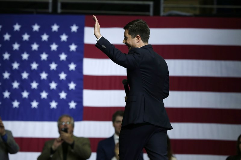 Democratic presidential candidate South Bend, Ind., Mayor Pete Buttigieg walks off stage after speaking at the Iowa Democratic Party's Liberty and Justice Celebration, Friday, Nov. 1, 2019, in Des Moines, Iowa. (AP Photo/Nati Harnik)