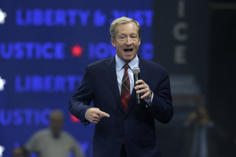 Democratic presidential candidate businessman Tom Steyer speaks during the Iowa Democratic Party's Liberty and Justice Celebration, Friday, Nov. 1, 2019, in Des Moines, Iowa. (AP Photo/Nati Harnik)