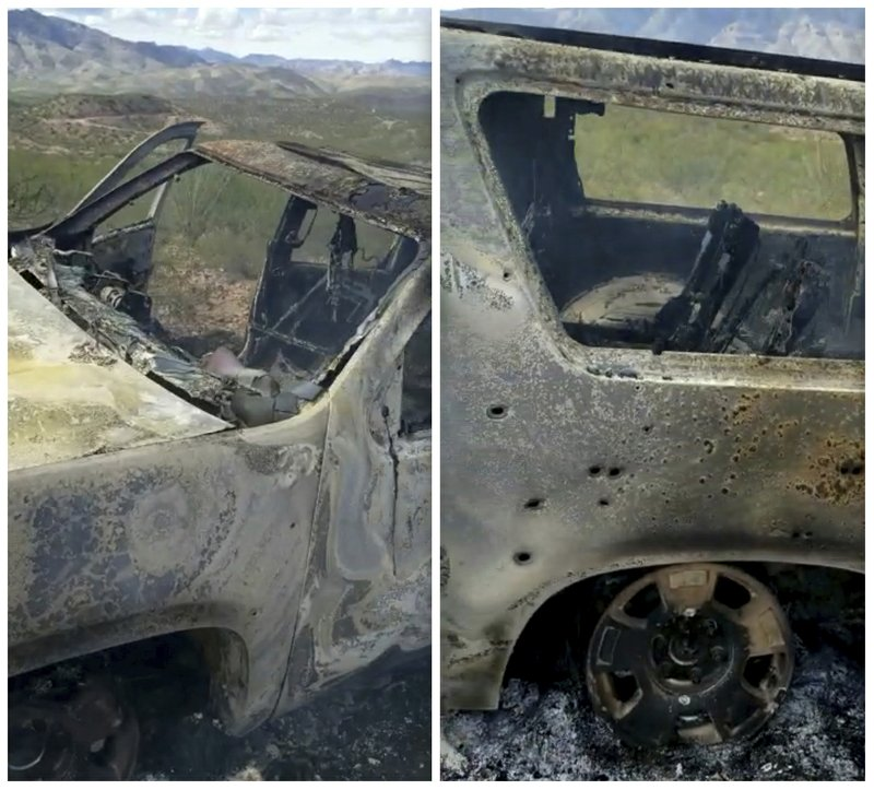 This combination of frames from Nov. 4, 2019, video by Kenny Miller and posted on the Twitter account of Alex LeBaron shows two views of a burned-out vehicle that was being used by some members of the LeBaron family as they were driving in a convoy near the Sonora-Chihuahua border in Mexico. Mexican authorities say drug cartel gunmen ambushed multiple vehicles, including this one, slaughtering several women and children. (Kenny Miller/Courtesy of Alex LeBaron via AP)