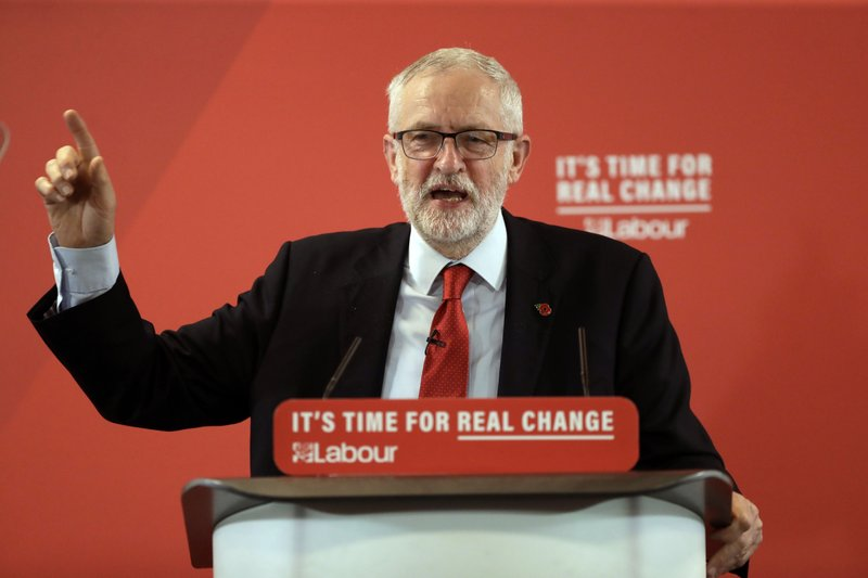 Britain's opposition Labour party leader Jeremy Corbyn delivers a speech during their election campaign event on Brexit in Harlow, England, Tuesday, Nov. 5, 2019. Britain goes to the polls on Dec. 12. (AP Photo/Matt Dunham)