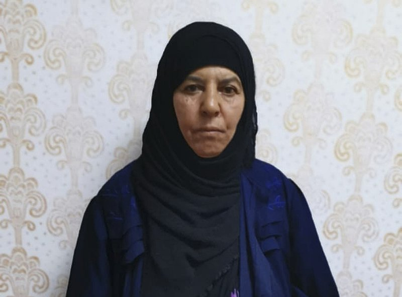 Undated handout photo made available by unnamed government sources showing a 65-year-old woman known as Rasmiya Awad, who is the sister of the slain leader of the Islamic State group Abu Bakr al-Baghdadi. Turkey captured the elder sister of the slain leader of the Islamic State group in northwestern Syria on Monday Nov. 4, 2019, according to a senior Turkish official, who called the arrest an intelligence