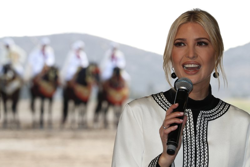 Ivanka Trump, the daughter and senior adviser to President Donald Trump speaks during a ceremony in the province of Sidi Kacem, Morocco, Thursday, Nov. 7, 2019, at an olive grove collective where Trump met with local women farmers who are benefitting from changes allowing them to inherit land. (AP Photo/Jacquelyn Martin)