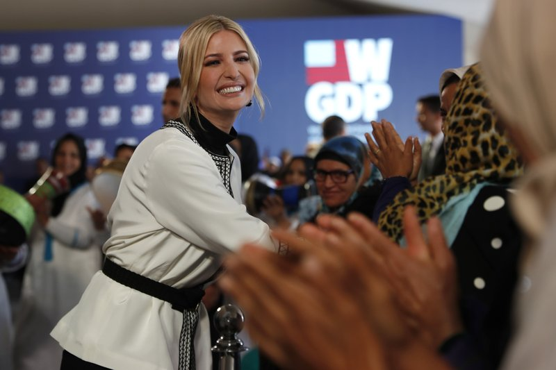 Ivanka Trump, the daughter and senior adviser to President Donald Trump meets women during a ceremony in the province of Sidi Kacem, Morocco, Thursday, Nov. 7, 2019, at an olive grove collective where Trump met with local women farmers who are benefitting from changes allowing them to inherit land. (AP Photo/Jacquelyn Martin)