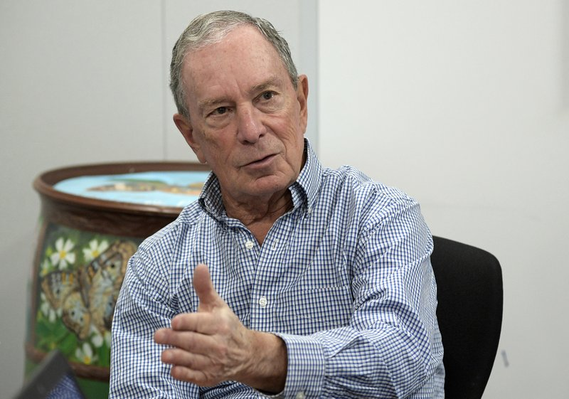 "FILE - In this Feb. 8, 2019 file photo, former New York City Mayor Michael Bloomberg answers a question during an interview with The Associated Press in Orlando, Fla. Bloomberg, the billionaire former mayor of New York City, is opening the door to a 2020 presidential campaign. Bloomberg announced earlier this year that he would not seek the Democratic nomination. But in a statement, his political adviser Howard Wolfson says Bloomberg is worried that the current crop of Democratic presidential candidates is ""not well positioned"" to defeat President Donald Trump.(AP Photo/Phelan M. Ebenhack, File)"