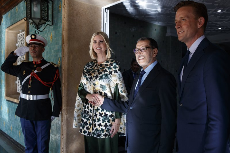 Ivanka Trump, the daughter and senior adviser to President Donald Trump, shakes hands with Moroccan Prime Minister Saadeddine el-Othmani, Thursday, Nov. 7, 2019, as they pose for a photograph before their meeting in Rabat, Morocco. At right is Sean Cairncross, CEO of the Millennium Challenge Corporation. (AP Photo/Jacquelyn Martin)