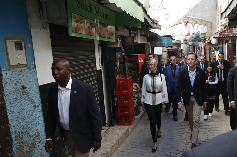 Ivanka Trump, the daughter and senior adviser to President Donald Trump and Sean Cairncross, CEO of the Millennium Challenge Corporation walk in a medina in Rabat, Morocco, Thursday, Nov. 7, 2019. (AP Photo/Jacquelyn Martin)