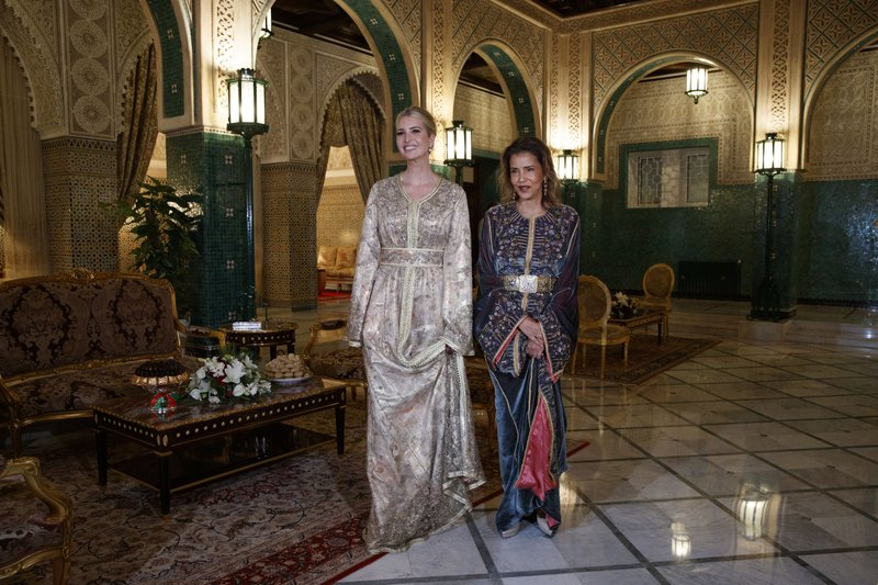 Wearing Moroccan caftans, Ivanka Trump, the daughter and senior adviser to President Donald Trump, left, stands with Princess Lalla Meryem of Morocco, Thursday, Nov. 7, 2019, before a dinner at the Royal Guest House in Rabat, Morocco. (AP Photo/Jacquelyn Martin)