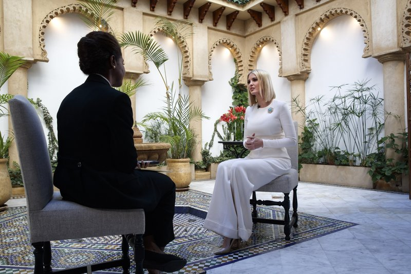 Ivanka Trump, the daughter and senior adviser to U.S. President Donald Trump, is interviewed by the Associated Press, Friday, Nov. 8, 2019, in Rabat, Morocco. Trump is in Morocco promoting a global economic program for women. (AP Photo/Jacquelyn Martin)