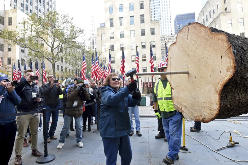 IMAGE DISTRIBUTED FOR TISHMAN SPEYER -  Carol Schultz drives a spike into the trunk of a 77-foot tall, 12-ton Norway Spruce from Florida, N.Y., that she donated to serve as this year's Rockefeller Center Christmas tree, Saturday, Nov. 9, 2019, in New York. The 87thRockefeller Center Christmas Tree Lighting ceremony will take place on Wednesday, Dec. 4. (Diane Bondareff/AP Images for Tishman Speyer)