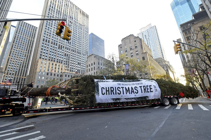 IMAGE DISTRIBUTED FOR TISHMAN SPEYER -  The 2019 Rockefeller Center Christmas tree, a 77-foot tall, 12-ton Norway Spruce from Florida, N.Y., pulls into Rockefeller Plaza,Saturday, Nov. 9, 2019, in New York. The 87thRockefeller Center Christmas Tree Lighting ceremony will take place on Wednesday, Dec. 4. (Diane Bondareff/AP Images for Tishman Speyer)