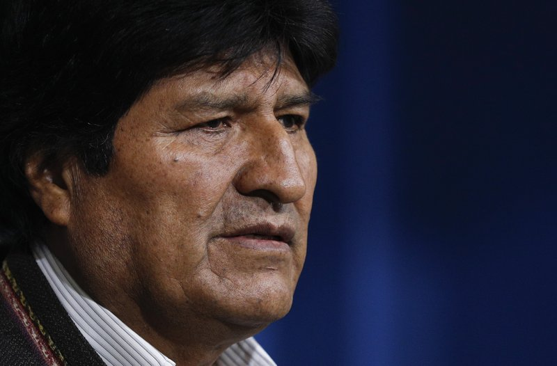 Bolivia's President Evo Morales looks on during a press conference in La Paz, Bolivia, Sunday, Nov. 10, 2019. Morales calls for new elections in Bolivia following the release of a preliminary report by the Organization of American States (OAS) that found irregularities in the October 20 vote. (AP Photo/Juan Karita)