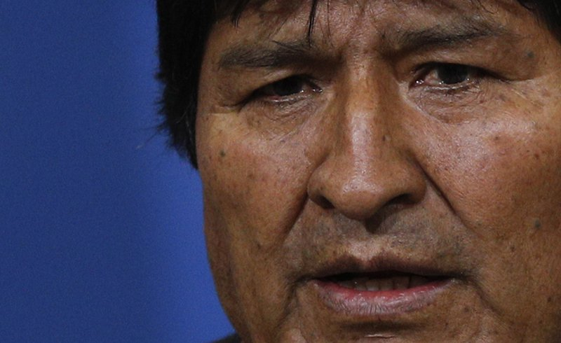 Bolivia's President Evo Morales attends a press conference in La Paz, Bolivia, Sunday, Nov. 10, 2019. Morales is calling for new presidential elections and an overhaul of the electoral system Sunday after a preliminary report by the Organization of American States found irregularities in the Oct. 20 elections. (AP Photo/Juan Karita)