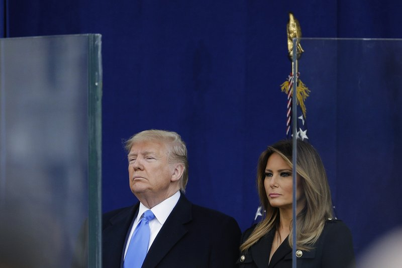 President Donald Trump and first lady Melania Trump attend the kickoff for the New York City's 100th annual Veterans Day parade, Monday, Nov. 11, 2019, in New York. (AP Photo/Seth Wenig)