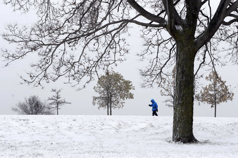 A lone hiker navigates the 31st street beach bike trail in a stiff wind and blowing snow off Lake Michigan, Monday, Nov. 11, 2019, in Chicago. (AP Photo/Charles Rex Arbogast)