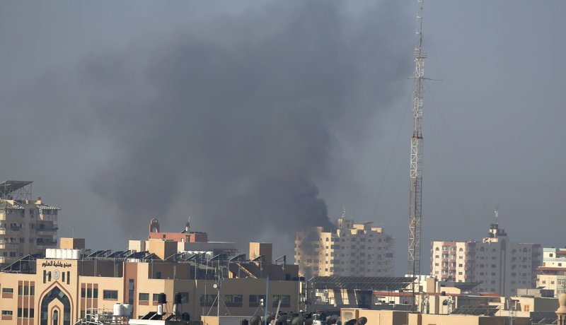 Smoke rises after an Israeli forces strike in Gaza City, Tuesday, Nov. 12, 2019. Israel killed a senior Islamic Jihad commander in Gaza early Tuesday in a resumption of pinpointed targeting that threatens a fierce round of cross-border violence with Palestinian militants. (AP Photo/Hatem Moussa)