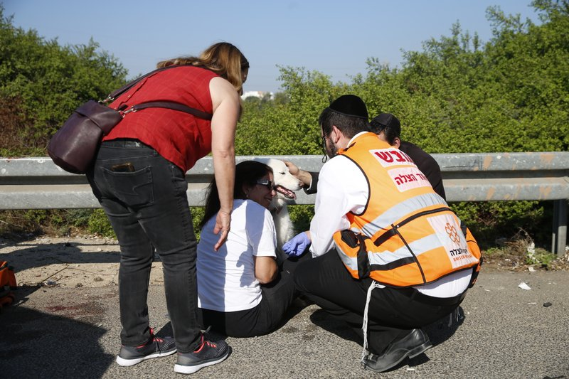 Paramedics treat a woman and her dog moments after a rocket fired by Palestinians militants from Gaza hit a main free way between Ashdod and Tel Aviv near Ashdod Israel, Tuesday, Nov. 12, 2019. Israel has killed a senior Islamic Jihad commander in Gaza in a rare targeted killing that threatened to unleash a fierce round of cross-border violence with Palestinian militants. (AP Photo/Ariel Schalit)