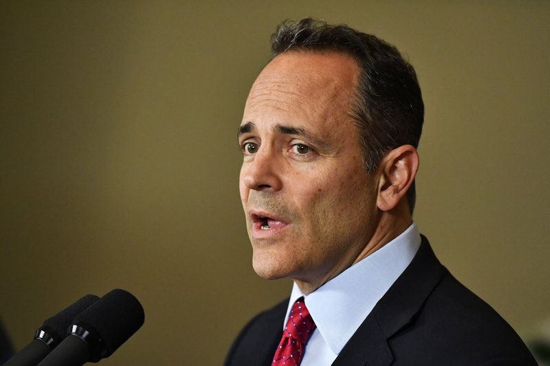 FILE - In this Nov. 6, 2019, file photo, Kentucky Gov. Matt Bevin announces his intent to call for a recanvass of the voting results from Tuesday's gubernatorial elections during a press conference at the Governor's Mansion in Frankfort, Ky. Bevin could face a legacy-defining decision once a recanvass of the Kentucky vote count is completed Thursday, Nov. 14. He can concede to Democrat Andy Beshear or contest last week's election and potentially put the outcome in the hands of lawmakers. (AP Photo/Timothy D. Easley, File)