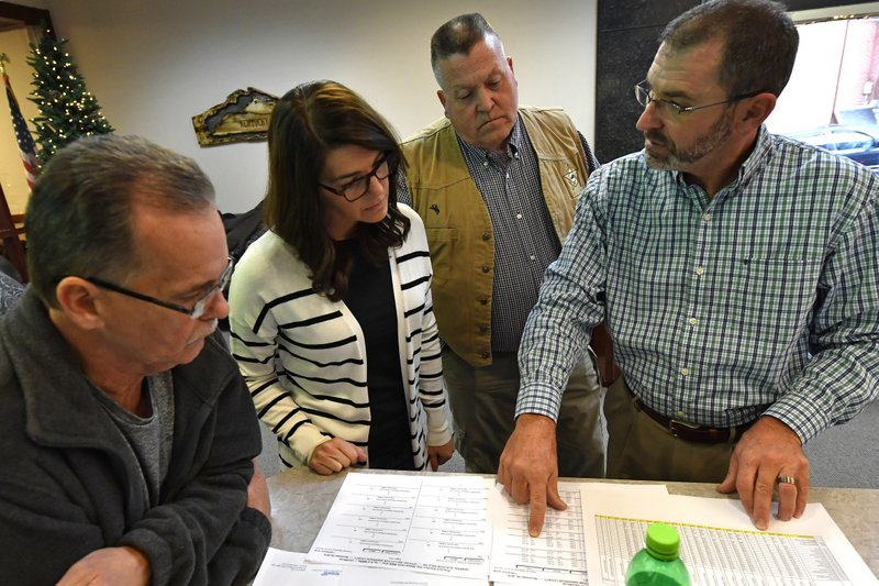 From left, Anderson County Board of Elections member Steve Ashburn, Anderson Co. Board of Elections member Autumn Boblitt, Anderson Co. Sheriff Joe Milam, and Anderson Co. Clerk Jason Denny examine the vote totals for the remcanvass of the Kentucky Governors race in Lawrenceburg, Ky., Thursday, Nov. 14, 2019.  Election officials across Kentucky have started double-checking vote totals that show Republican Gov. Matt Bevin trailing Democrat Andy Beshear by more than 5,000 votes. (AP Photo/Timothy D. Easley)