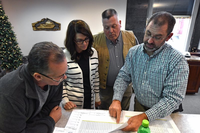 From left, Anderson County Board of Elections member Steve Ashburn, Anderson Co. Board of Elections member Autumn Boblitt, Anderson Co. Sheriff Joe Milam, and Anderson Co. Clerk Jason Denny examine the vote totals for the remcanvass of the Kentucky Governors race in Lawrenceburg, Ky., Thursday, Nov. 14, 2019. (AP Photo/Timothy D. Easley)