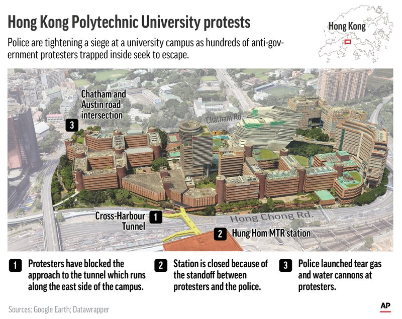 Maps shows Hong Kong Polytechnic University and locates key events in protester clashes with police;