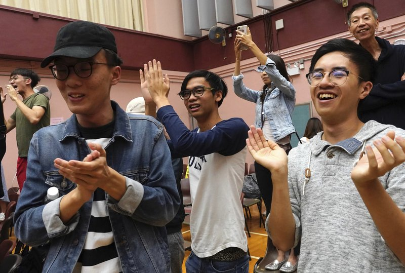Supporters of a pro-democracy candidate cheer after winning their seat in district council elections in Hong Kong, early Monday, Nov. 25, 2019. Vote counting was underway in Hong Kong on Sunday after a massive turnout in district council elections seen as a barometer of public support for pro-democracy protests that have rocked the semi-autonomous Chinese territory for more than five months. (AP Photo/Vincent Yu)