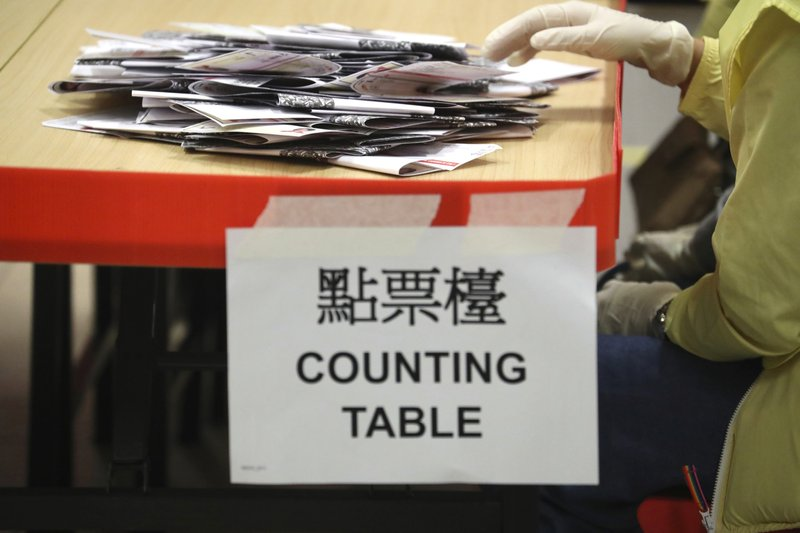 An election worker prepares to count votes at a polling station in Hong Kong, Sunday, Nov. 24, 2019. Voters in Hong Kong turned out in droves on Sunday in district council elections seen as a barometer of public support for pro-democracy protests that have rocked the semi-autonomous Chinese territory for more than five months. (AP Photo/Ng Han Guan)