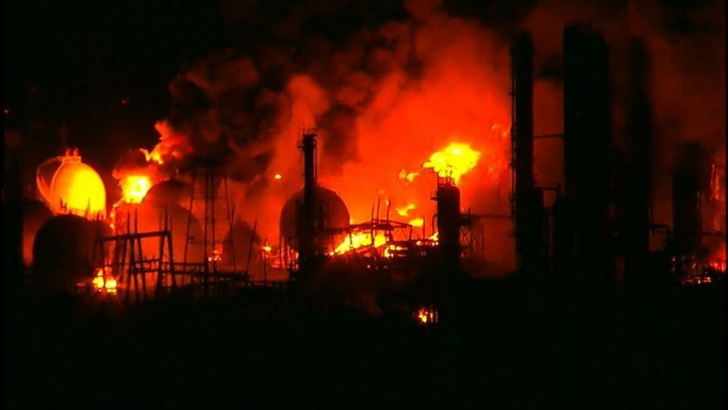 Authorities in East Texas say they don't know how long a fire in a chemical plant will continue to burn. Two massive explosions 13 hours apart tore through a Texas chemical plant Wednesday, and one left three workers injured.
