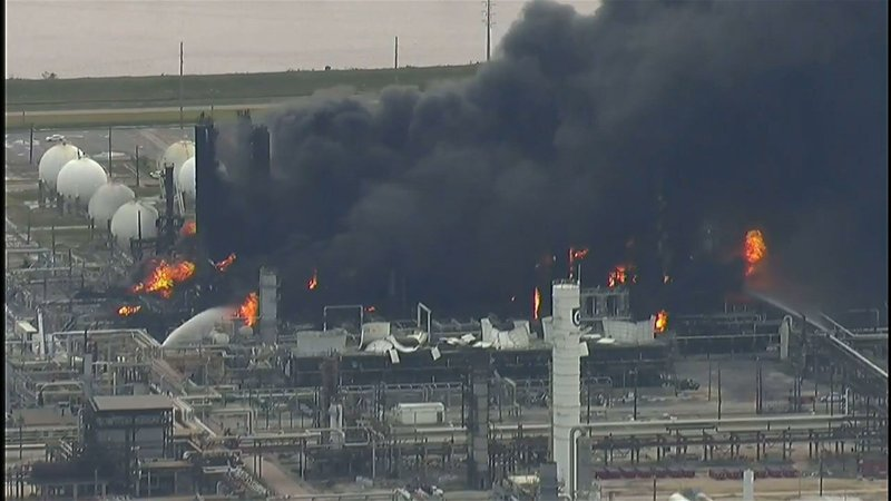 Three workers were injured in a massive explosion at a Texas chemical plant. The fire continued to burn Wednesday morning at the TPC Group plant after the blast sent a large plume of smoke that stretched for miles. (Nov. 27)