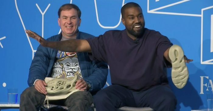 This image taken from the video shows Kanye West, right, with Steven Smith, lead designer of 'Yeezy', during a conference on fashion and design at the Fast Company Innovation Festival in New York on Nov. 7, 2019. (Photo AP/David Martin)