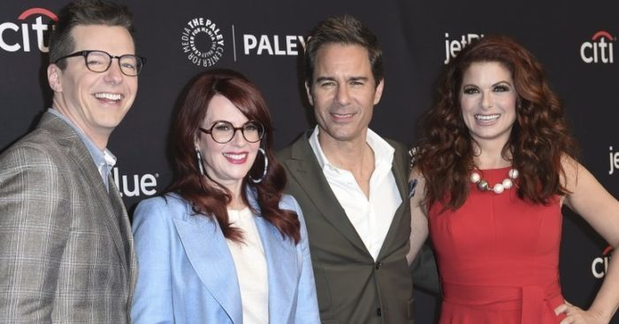 """Sean Hayes, left to right, Megan Mullally, Eric McCormack and Debra Messing, actors from """"Will & Grace"""". (Photo by Richard Shotwell/Invisión/AP, Archive)"""