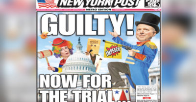 NY Post has cover with Schiff and Pelosi depicted as two impeachment clowns