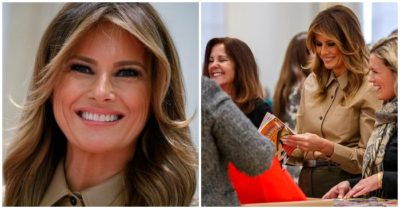 Melania Trump packs holiday comfort kits for overseas troops at the Red Cross with Karen Pence