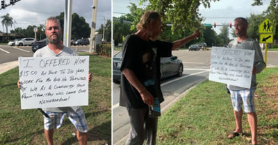 Florida business owner offers homeless man job but he refuses, that's when tables are turned