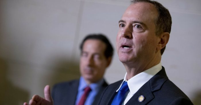 Representative Adam Schiff, D-California, chairman of the House Intelligence Committee, accompanied by Representative Jamie Raskin, D-Maryland, left, speaks to reporters at the Capitol in Washington on Monday, November 4, 2019. (Photo AP/Andrew Harnik)