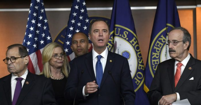 House Intelligence Committee Chairman Adam Schiff, D-California, second from right, speaks during a press conference at Capitol Hill in Washington on Oct.31, 2019. (AP/Susan Walsh)