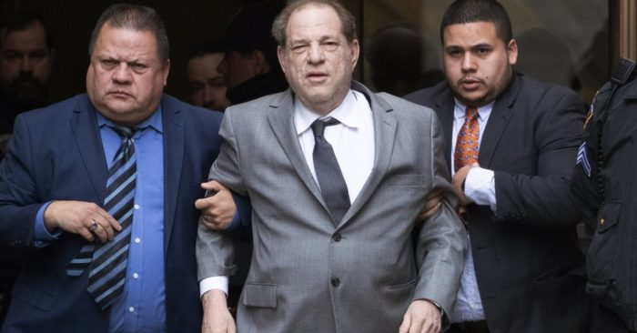 Harvey Weinstein, center, leaves court after a bail hearing on Friday, December 6, 2019 in New York. (AP Photo/Mark Lennihan)