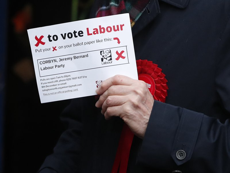 British opposition Labour Party leader Jeremy Corbyn holds his polling card notification document after casting his vote in the general election, in Islington, London, England, Thursday, Dec. 12, 2019 .U.K. voters are deciding Thursday who they want to resolve the stalemate over Brexit in a parliamentary election widely seen as one of the most decisive in modern times. (AP Photo/Thanassis Stavrakis)