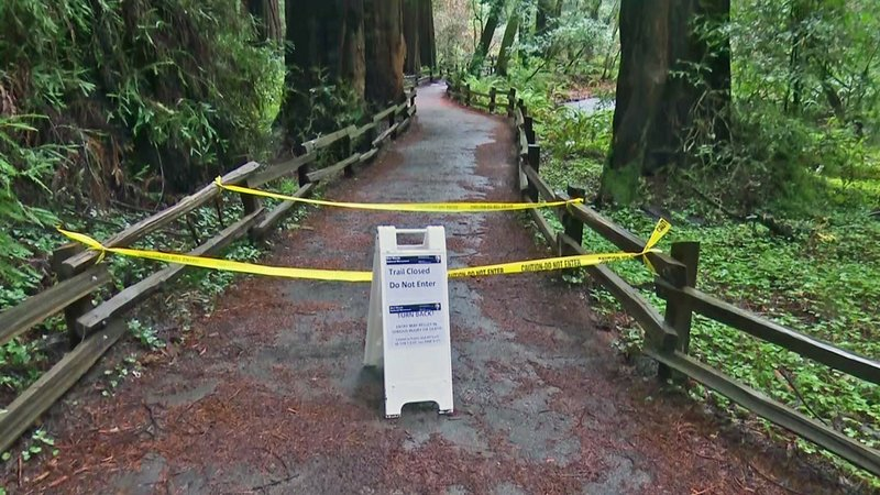 In this photo provided by CBS San Francisco shows a sign showing a trail closed sign at the entrance to the Muir Woods National Monument in Marin County, Calif. Authorities say a Redwood tree fell and fatally struck a man visiting Muir Woods National Monument Park on Christmas Eve, Dec. 24, 2019. (KPIX-TV via AP)
