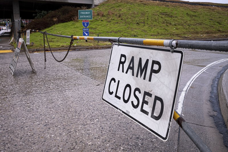 All I-5 freeway ramps were closed in Castaic, Calif., as snow on the Grapevine made the road impossible to pass Thursday, December 26, 2019. The CHP had no estimate as to when the freeway would re-open. (David Crane/The Orange County Register via AP)