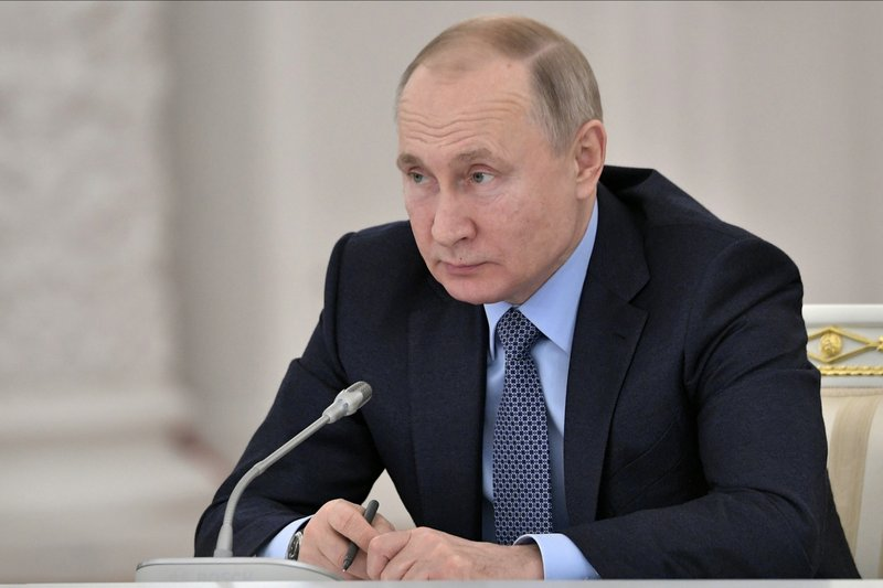 Russian President Vladimir Putin attends the State Council meeting on the agricultural policy at the Kremlin in Moscow, Russia, Thursday, Dec. 26, 2019. (Alexei Nikolsky, Sputnik, Kremlin Pool Photo via AP)