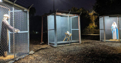 California church nativity scene depicts Jesus, Mary, and Joseph as caged separated at border