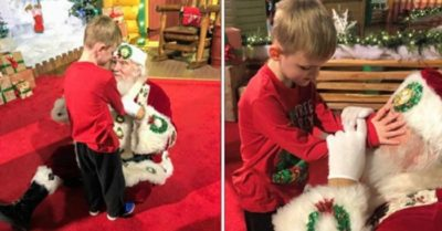 Blind and autistic boy meets Santa for first time in the most magical encounter
